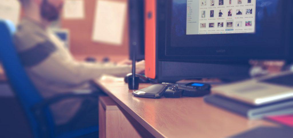 escritorio con efecto de desenfoque