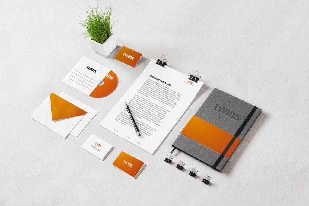mockup de twins studio en papeleria corporativa