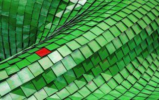 tejas verdes y una roja
